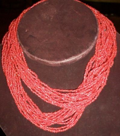 CORAL BEAD STRAND NECKLACE