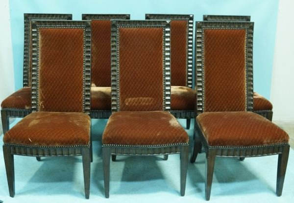 LOT OF TWELVE FLUTED HIGH BACK DINING CHAIRS