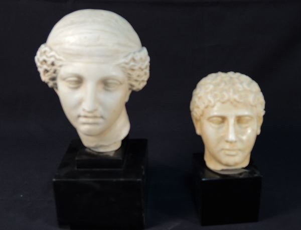 PLASTER HEAD OF ATHENA  AND RESIN HEAD OF YOUTH