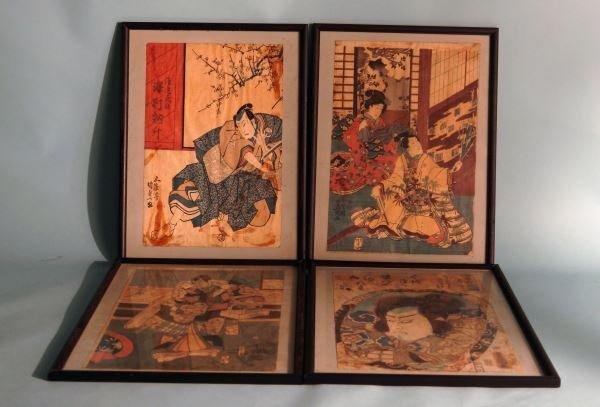 SET OF FOUR VINTAGE JAPANESE BLOCK PRINTS