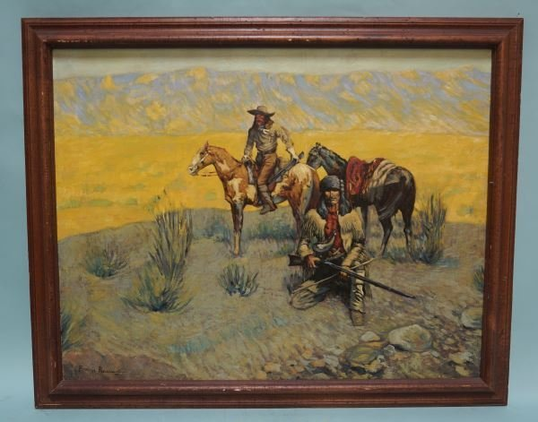 OIL ON CANVAS COPY OF FREDERIC REMINGTON PAINTING