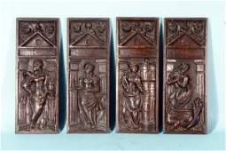 FOUR 16th CENTURY OAK CARVED PANELS