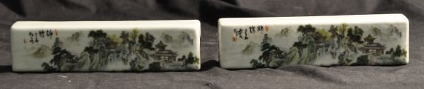 PAIR OF CHINESE PORCELAIN SCROLL HOLDERS