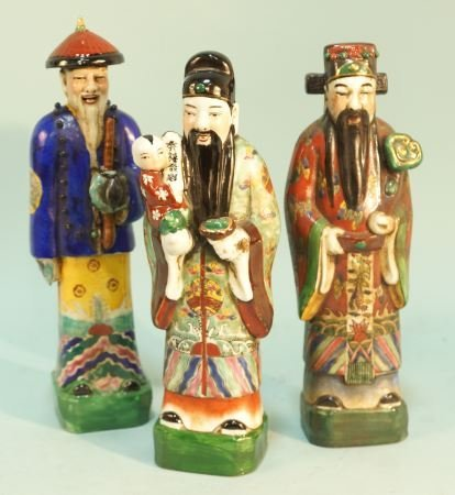 LOT OF THREE CHINESE PORCELAIN STATUES