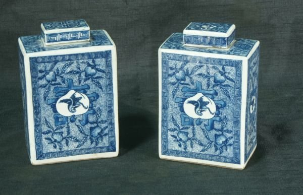 CHINESE BLUE AND WHITE PORCELAIN TEA CADDYS
