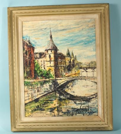 EUROPEAN TOWNSCAPE OIL ON CANVAS PAINTING