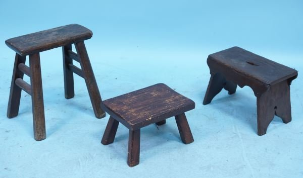 MIXED LOT OF THREE 19th CENTURY ENGLISH STOOLS