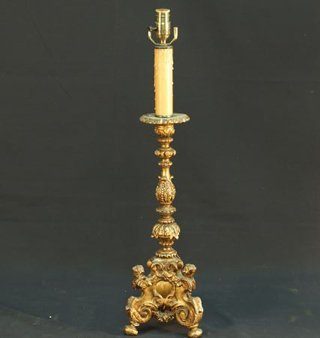 18th C. ITALIAN CARVED & GILDED CANDLESTICK LAMP