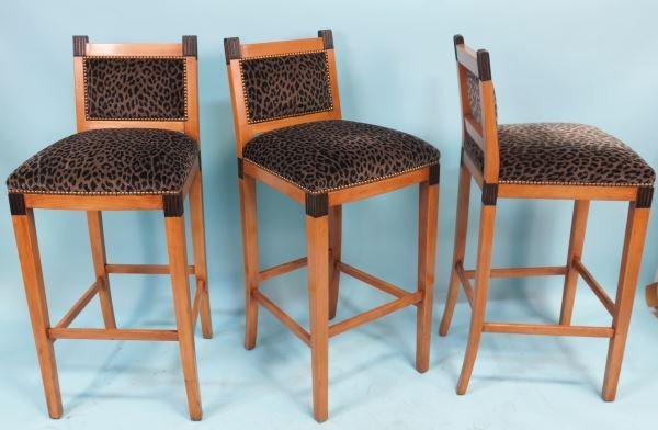 THREE BIEDERMEIER STYLE WILLIAM SWITZER BAR STOOLS