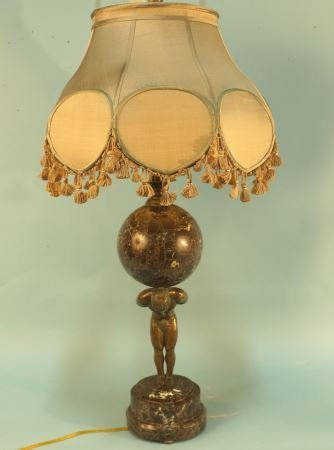 BRONZE  AND MARBLE ATLAS LAMP WITH SILK SHADE