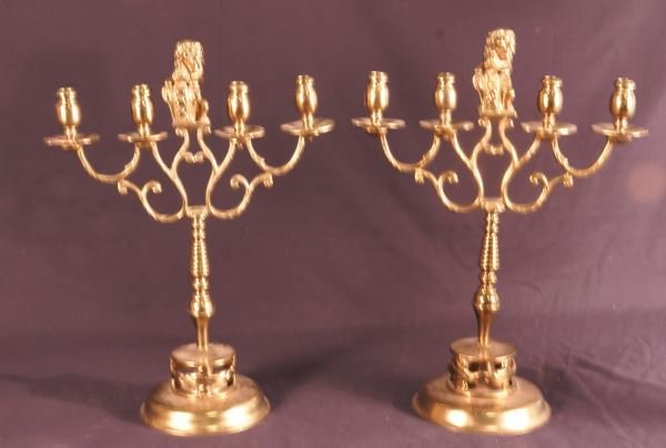 PAIR OF 19th CENTURY DUTCH BRASS CANDLELABRA