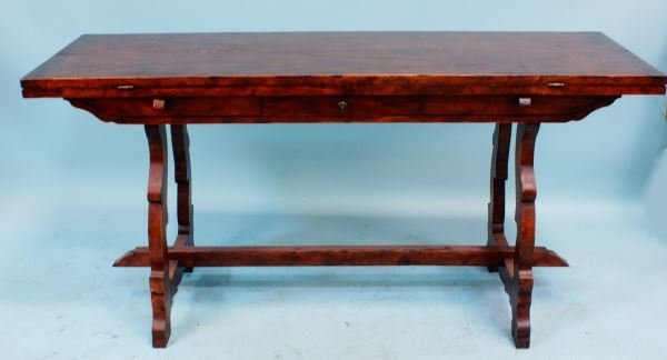 VINTAGE FLIP TOP TRESTLE TABLE