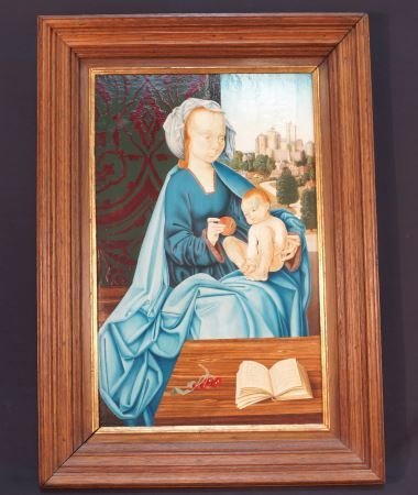 1500's FRENCH STYLE MADONNA & CHILD OIL ON PANEL