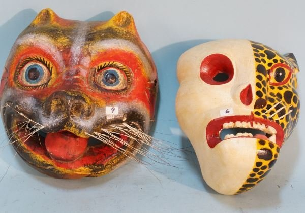 LOT OF TWO MEXICAN MASKS. SKULL & CAT MASK