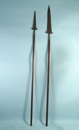LOT OF TWO ANTIQUE STEEL ENGRAVED SPEARS