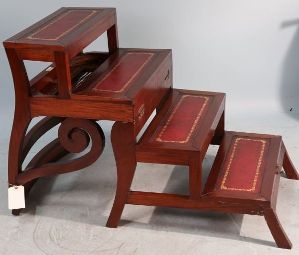 MAHOGANY CONVERTIBLE LIBRARY CHAIR STEP LADDER