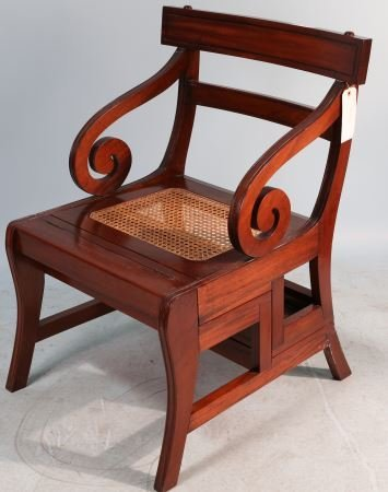 MAHOGANY CONVERTIBLE LIBRARY CHAIR STEP LADDER - 2