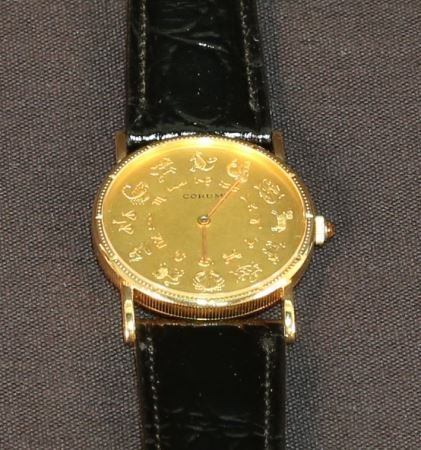 CORUM GOLD ZODIAC WATCH WITH SPEIDEL LEATHER BAND - 3