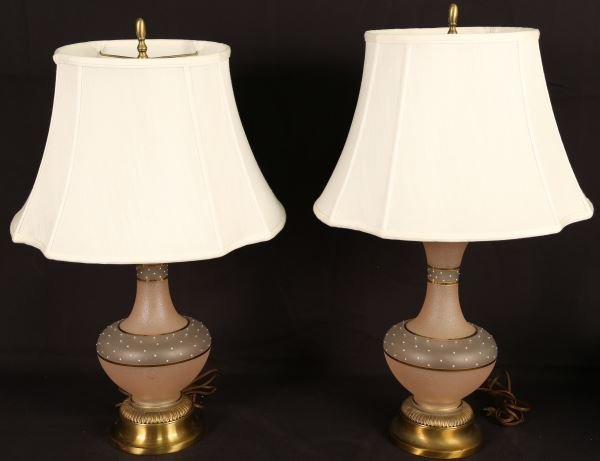 PAIR OF VINTAGE 1940's STAINED GLASS LAMPS