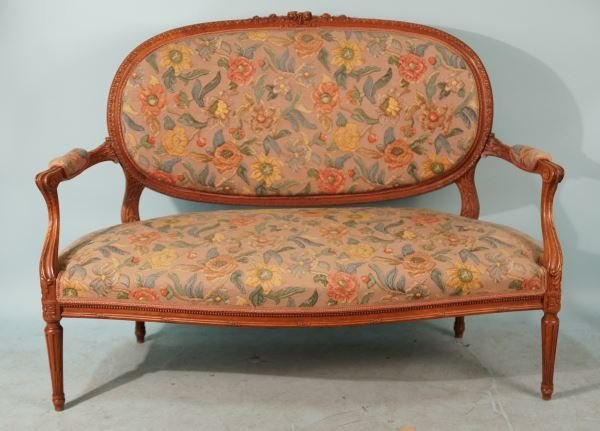 19th CENTURY FRENCH CARVED OAK SETTEE