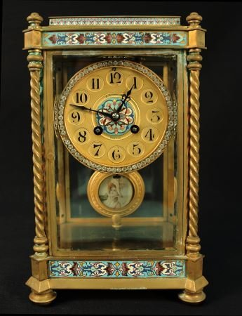 A. STOWELL & CO. CARRIAGE CLOCK WITH JEWELED FACE