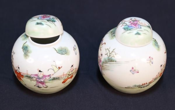 PAIR OF 19th CHINESE PORCELAIN LIDDED JARS