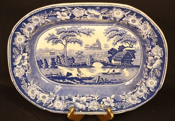 19th C. ENGLISH BLUE AND WHITE TRANSFER PORCELAIN