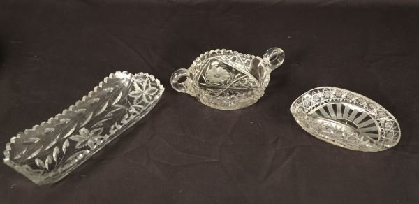 LOT OF THREE 19th CENTURY  AMERICAN CUT GLASS DISHES