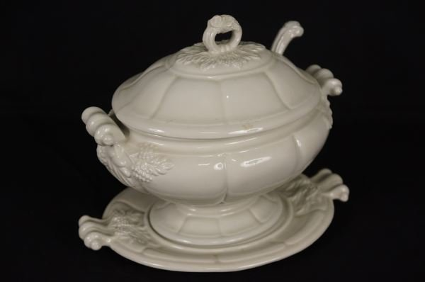 WHITE IRONSTONE SOUP TUREEN WITH LADLE
