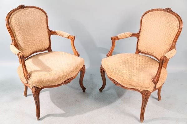 SET OF FOUR 19th C. FRENCH WALNUT ARMCHAIRS