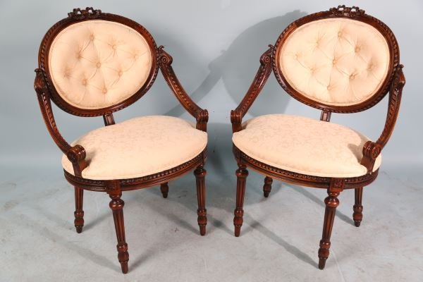 PAIR OF 19th CENTURY WELL CARVED FRENCH ARMCHAIRS