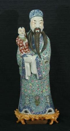 19th C. CHINESE PORCELAIN MANDARIN LORD W/CHILD