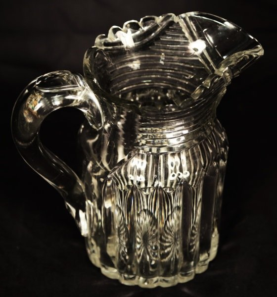 19th CENTURY ANGLO IRISH CUT GLASS WATER PITCHER