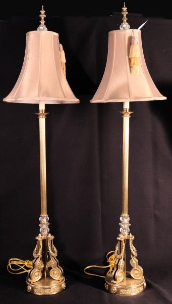 PAIR OF NEOCLASSICAL FLUTED BRASS LAMPS