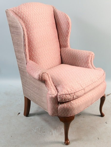 SILK UPHOLSTERED WING CHAIR