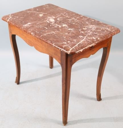 19th CENTURY FRENCH MARBLE TOP TEA TABLE