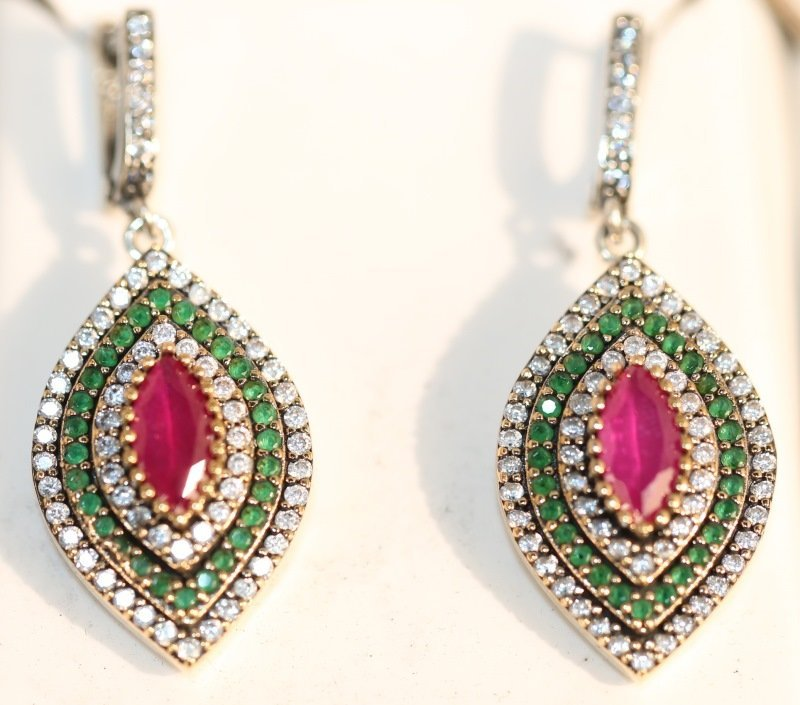 S. S. GENUINE RUBY EARRINGS WITH EMERALD ACCENTS