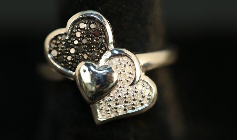 S. S. GENUINE BLACK & WHITE DIAMOND HEART RING