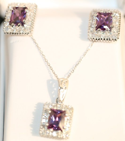 PAIR OF S. S. AMETHYST EARRINGS & PENDANT WITH NEC