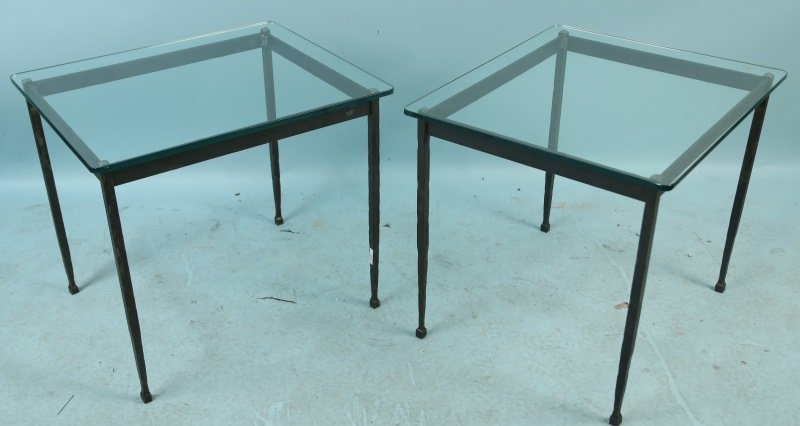 PAIR OF CONTEMPORARY IRON &  GLASS TOP TABLES