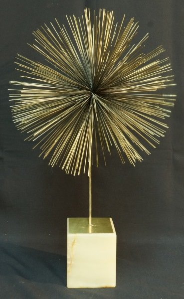"""CURTIS JERE """"DANDELION"""" METAL SCULPTURE ON MARBLE STAND"""