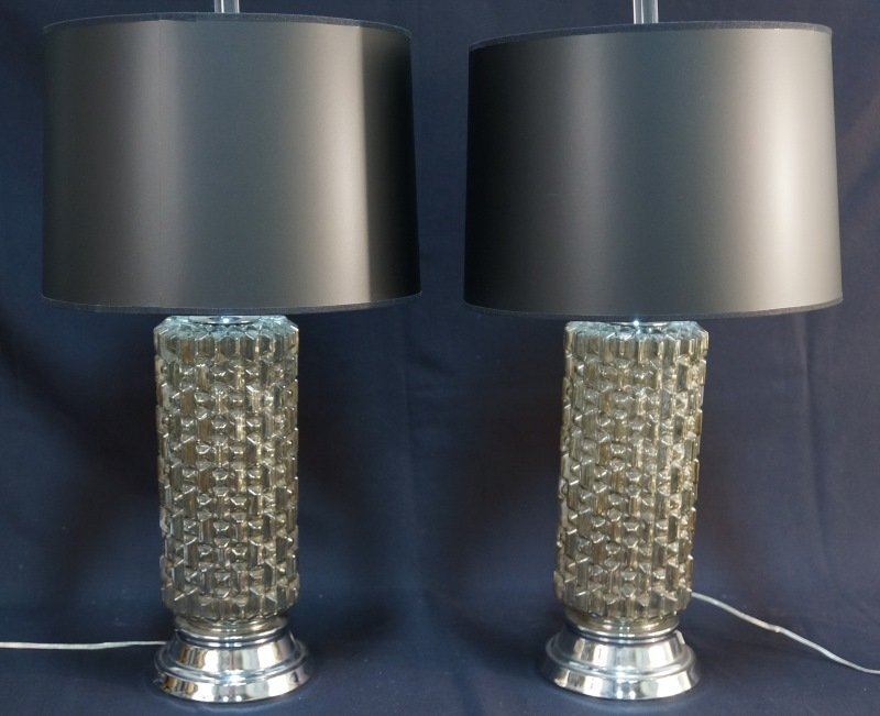 PAIR OF CONTEMPORARY GLASS LAMPS