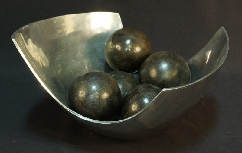 CONTEMPORARY SILVER TONE BOWL WITH SPHERES
