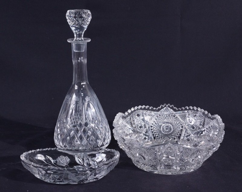 LOT OF THREE VINTAGE AMERICAN CUT GLASS PIECES