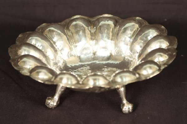 CONTINENTAL COINED SILVER  FOOTED CANDY DISH