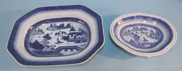 TWO 19th C. BLUE & WHITE CANTON CHARGERS