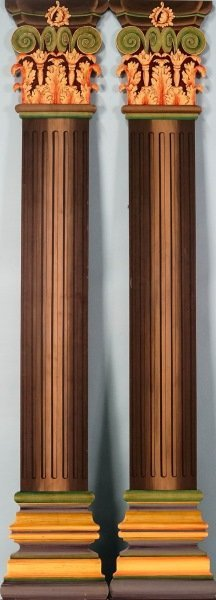 PAIR OF POLYCHROMED PILASTERS