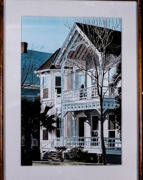 "HERB RATHER ""VICTORIAN GALVESTON HOME"" WATERCOLOR"
