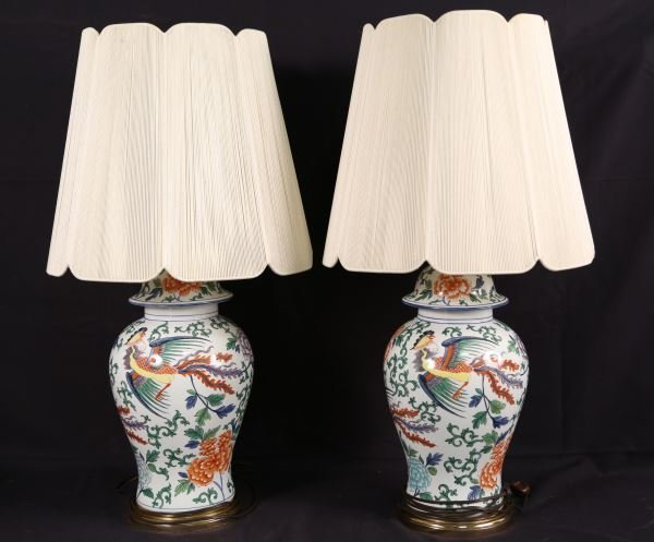 PAIR OF ASIAN PORCELAIN LIDDED TEMPLE JAR LAMPS