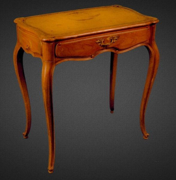 VINTAGE FRENCH CHERRY LEATHER TOP TABLE